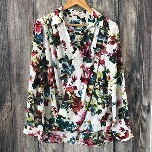 Pleione floral wrap blouse